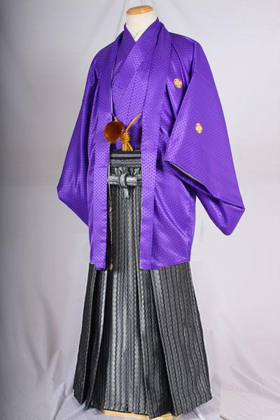 オプション袴ダイヤグレー柄と紫無地紋付着用画像成人式レンタル袴