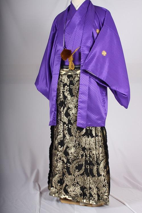 オプション袴大柄チェーンブラックゴールドと紫無地紋付着用画像成人式レンタル袴