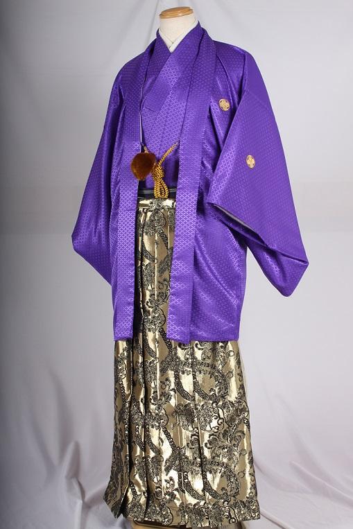 オプション袴大柄チェーンゴールドブラックと紫無地紋付着用画像成人式レンタル袴