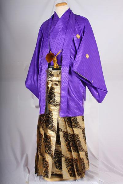 オプション袴桜吹雪柄黒地に金と紫無地紋付着用画像成人式レンタル袴