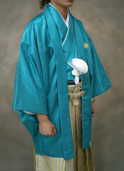 MAN-HD14ダイヤ柄ゴールド袴レンタル紋付成人式用貸衣装エメラルドグリーン着姿