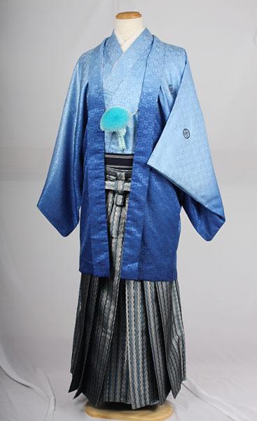 MAN-HD15メタリックブルーダイヤ柄袴レンタル紋付成人式用貸衣装水色グラデーション着姿