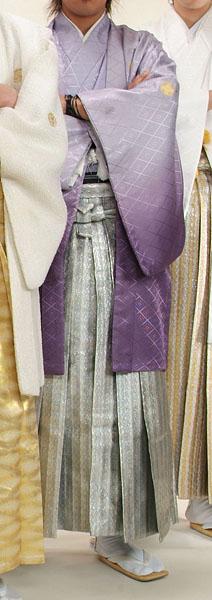 MAN-HD13メタリックシルバーダイヤ柄レンタル紋付成人式用貸衣装藤色グラデーション着姿
