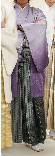 MAN-HD11グレーダイヤ柄袴レンタル紋付成人式用貸衣装藤色グラデーション着姿