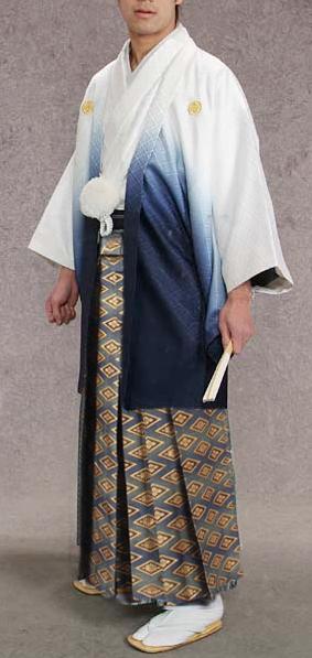 MAN-HG35ブルーに金菱織袴レンタル紋付成人式用貸衣装白/紺グラデーション着姿