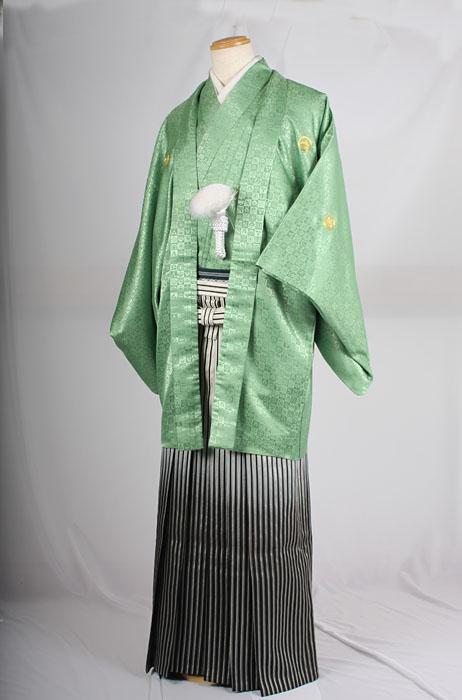 オプション袴MAN-HS03着用イメージ成人式レンタル紋付袴着姿
