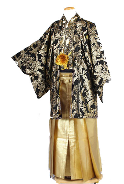 HM71目立つ袴金無地レンタル紋付成人式用貸衣装黒金819ジャガードチェーン着姿
