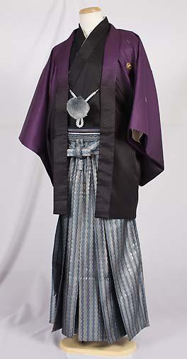 MAN-HD15メタリックブルーダイヤ柄レンタル紋付成人式用貸衣装紫黒グラデーション着姿