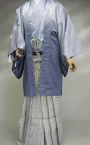 MAN-HS02基本セットの袴Bレンタル紋付成人式用貸衣装グレーぼかし(キングサイズ) 196着姿