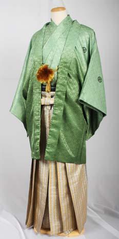 MAN-HD14ダイヤ柄メタルゴールド袴レンタル紋付成人式用貸衣装若草色緑グラデーション着姿