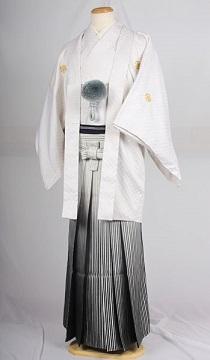 オプション袴銀黒縞ぼかしレンタル紋付成人式用貸衣装白刺し子紋付袴