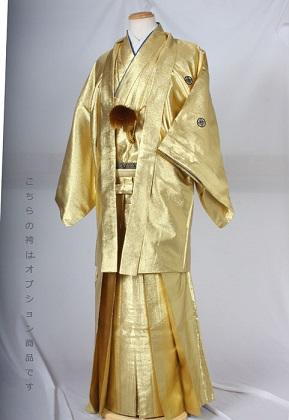 レンタル紋付成人式用貸衣装金299着姿後姿背中側HM71目立つ男袴金一色ゴールド