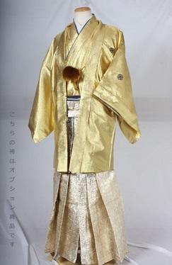 HG45目立つ金銀万華鏡柄レンタル紋付成人式用貸衣装金一色着姿