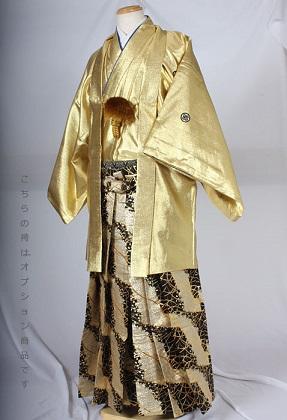 MAN-HG46派手桜柄レンタル紋付成人式用貸衣装目立つゴールド一色着姿