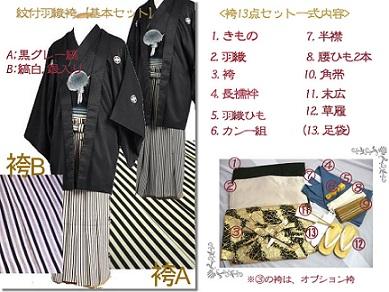 レンタル成人式用紋付男袴全国宅配フルセット商品セット内容